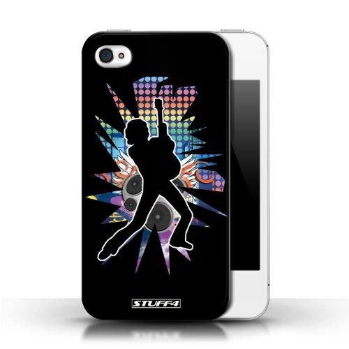 Etui / Coque pour Apple iPhone 4/4S / Pencher Noir conception / Collection de Rock Star Pose