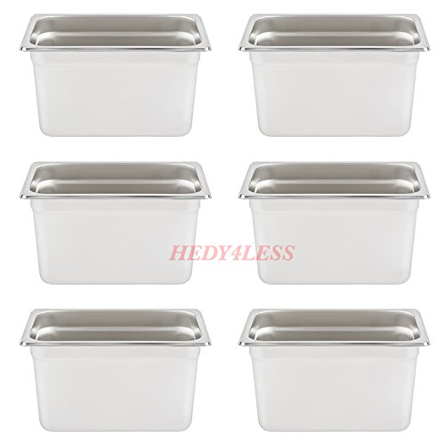 6SET 1/4 Size NSF 4.5 Qt. Stainless Steel Steam Table/Hotel Pan - 6'' Deep by HEDY4LESS