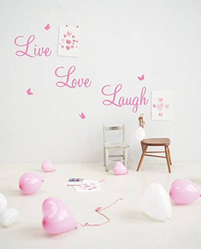 Live Laugh Love Wall Art Sticker Quote Vinyl Wall Decor Wall Decal (LARGE,  PINK Part 80
