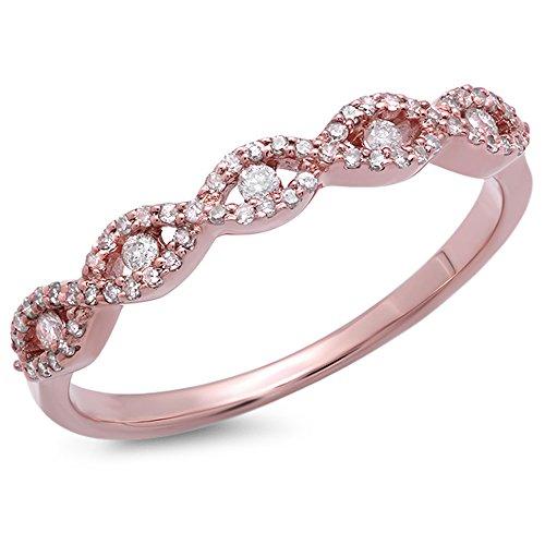 Dazzlingrock Collection 0.25 Carat (ctw) 14K Round Diamond Ladies Bridal Stackable Anniversary Wedding Band Swirl Ring 1/4 CT, Rose Gold, Size 7
