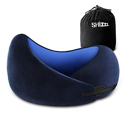 Shizzz Travel Pillow, Neck Pillow for Airplane Travel Memory Foam Chin Protective Pillow Supporting Kit for Camping, Backpacking, Airplanes and Road Trips Blue