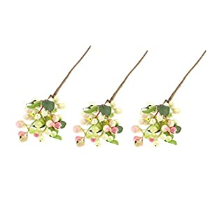 Fityle 3pcs Artificial Fruits Berries Branches Fake Greenery Foliage Plants Stems for Garden Balcony Wedding Birthday Party Floral Decoration Pink 47