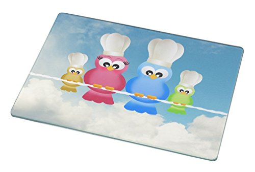 Chef Owl (Rikki Knight Colorful Owl Family Chef and Bakers Large Glass Cutting Board Workspace Saver, 15.3 x)