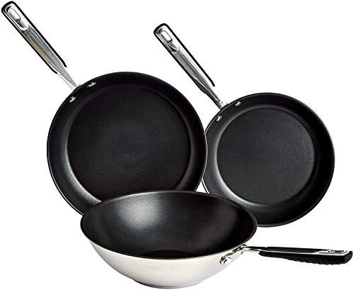 AmazonBasics 3-delig set roestvrijstalen inductie-koekenpannen en wok, 24 cm, 28 cm koekenpan en 28 cm wok, anti…