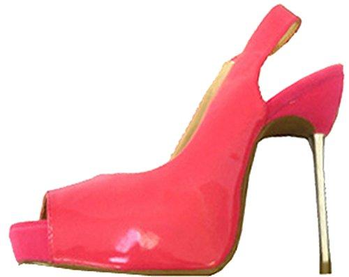 Tai Toe Kengät Piikkikorko Fuschia Slingback Patentti Peep Platform Nude Vaaleanpunainen Metalli pwgnAaO6xq