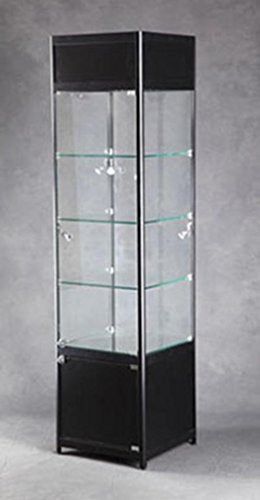 andise Display Glass Showcase Lighted Tower Assembled Black New (Lighted Tower Display)