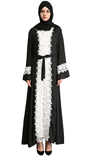 YI HENG MEI Women's Elegant Long Sleeve Muslim Maxi with White Lace Hem for Islamic Abaya,Black,L by YI HENG MEI (Image #7)