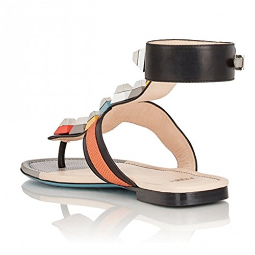 Handmade Buckle Slide Leather Toe Women's Flat Seven Open Cute Nine Black Shoes Genuine Colorful Heel Sandal xq7w8EwzF