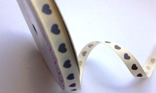 Bertie's Bows Love Heart Ivory 9mm Grosgrain Ribbon on a 3m Roll   B01MXK0RUO