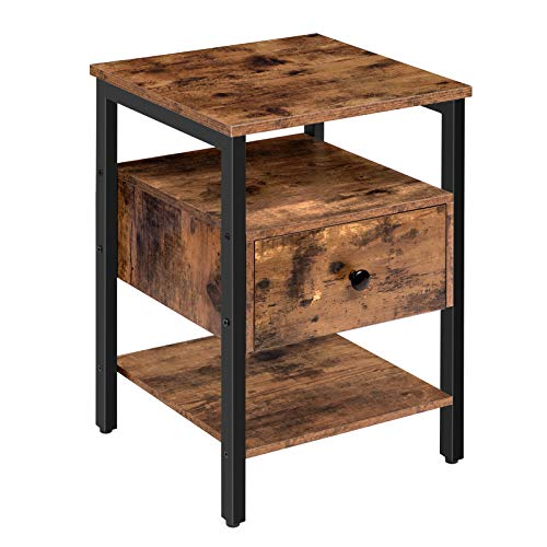 HOOBRO End Table, Nightstand with Drawer and 3 Storage Shelves, Retro Industrial Style Side Table, for Living Room…