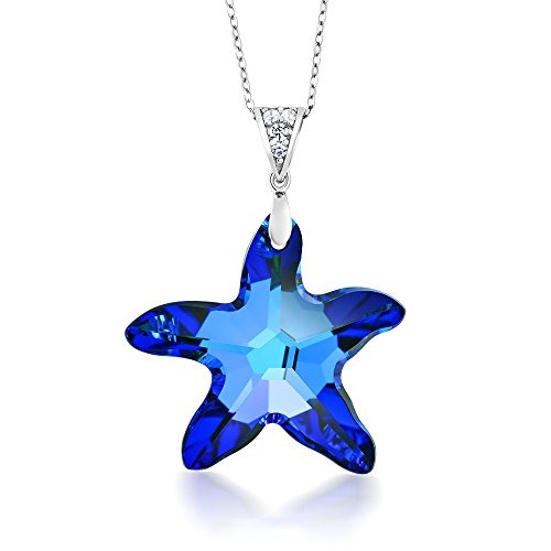 (Sterling Silver Berumda Blue Starfish Pendant Made with Swarovski)