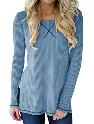 Thermal Knit Top - Minthunter Women's Long Sleeve Shirt Crew Neck Knit Thermal Top Cute Tunic
