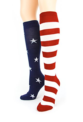 Foot Traffic Women's Stars and Stripes Knee High Socks,(Red, White, and Blue),Fits shoe sizes 4-10 ()