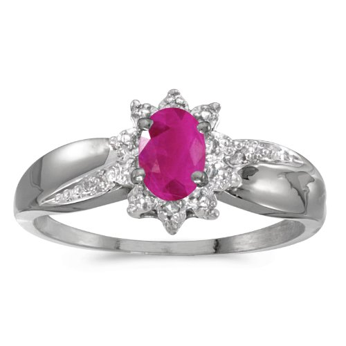 - 0.36 Carat (ctw) 14k White Gold Oval Red Ruby and Diamond Solitaire & Halo Fashion Swirl Cocktail Ring (6 x 4 MM) - Size 7.5