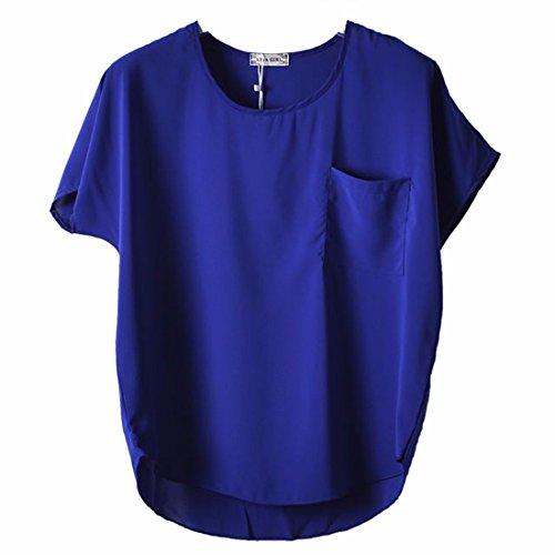 Nuevos Murcielago Corta Mujeres De La Manga Solida Capucha Gasa Del Color Camisetas Blusas Perspectiva Azul Real