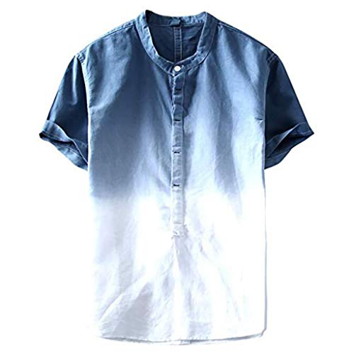 Homeparty Summer Mens Cool and Thin Breathable Collar Hanging Dyed Gradient Cotton Shirt Navy