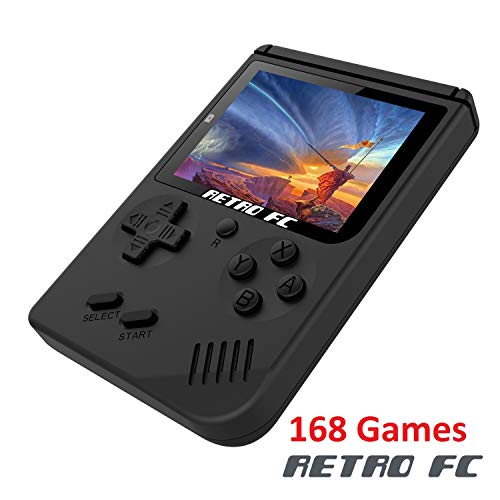 Handheld Game Console , Retro FC Game Console 3 Inch Screen 168 Classic Games TV Output Game Player , Birthday Present for Children - Black