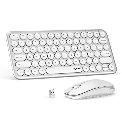 Wireless Keyboard and Mouse, Jelly Comb KS45 2.4GHz USB Keyboard and Mouse Combo for PC, Laptop, Window XP 7/8/9 - Ergonomic Round Concave & Convex Keycaps (White Silver) ()