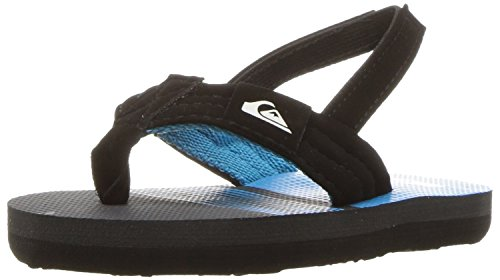 Quiksilver Boys' Molokai Layback Sandal, Black/Grey/Blue, 6(22) M US Toddler