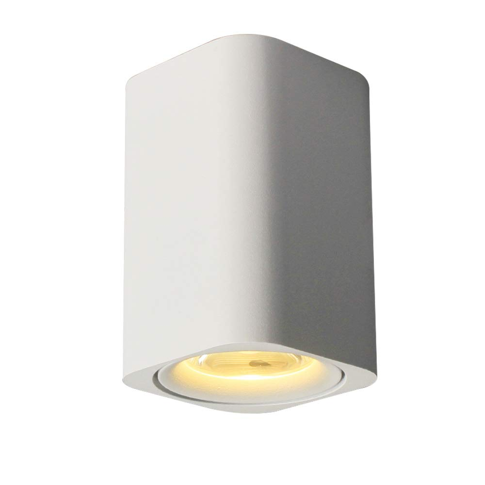 Aisilan LED Ceiling Spotlight, Square Surface Mounted Downlight, 7W 3000K Warm White,White Aluminum, ideal spotlight for Hallway Corridor Gallery display Kitchen and Living room MTD001-W-3K-7W