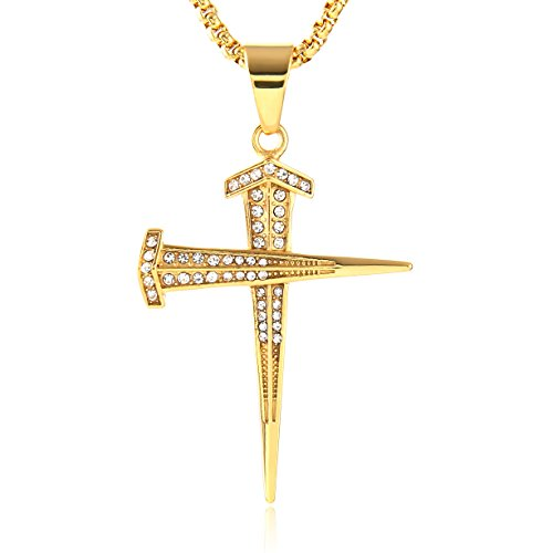 - HZMAN Mens 18k Gold Plated CZ Nail cross Stainless Steel Pendant Necklace Hip-Hop 24