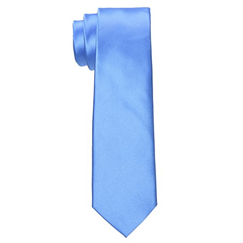 Silk-looking Necktie Classic Skinny Tie - Solid Light Blue Neckwear for Men by Yakee Lemon -