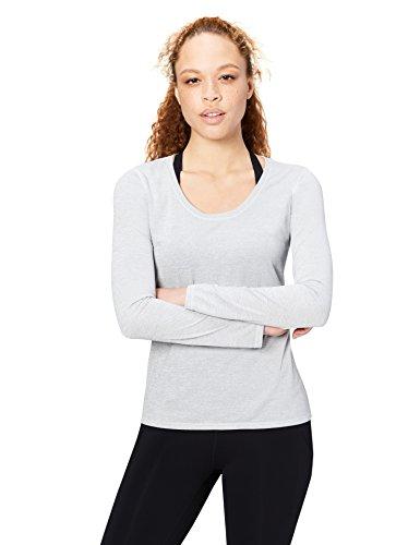 Core 10 Women's 'Lighter Than Air' Performance Long Sleeve T-Shirt (XS-XL, Plus Size 1X-3X), Light Grey Heather, Medium