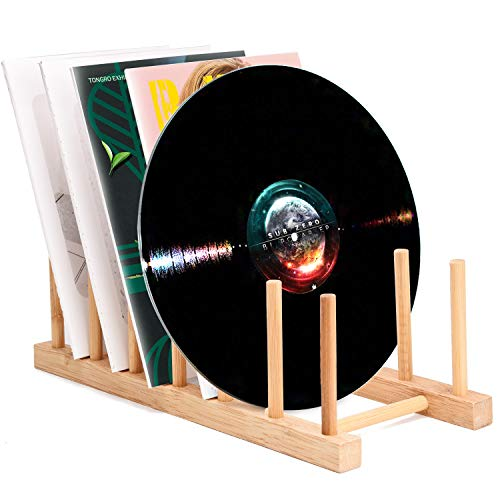 (Vinyl Record Storage Holder Stand Rack Eco Friendly Wooden CD Display Stand, Stackable Modern CD Holder Portable Countertop Desktop Magazine Rack iPad Stand Record Storage Shelf - for 12