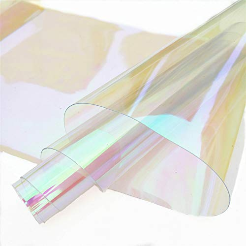ZAIONE PVC Holographic Clear Film Holographic Transparent Vinyl Mirrored Foil Laser Graphic Fabric for Shoes Bag Sewing Patchwork DIY Bow Craft Applique 8x37(20cm x 95cm) Roll (White)