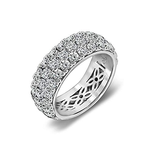 J'ADMIRE 5.5 ct Swarovski Zirconia 3 Row Pave Round Cut Ring Size 8, Platinum Plated Sterling Silver