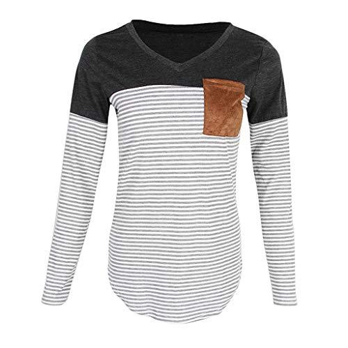 Shirt Chemisiers T Longues T Femme Slim Blouse t Haut shirt Baoblaze Chic Manches Gris wq7PH8