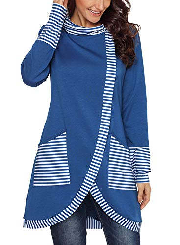 Asyoly Women Casual Cowl Neck Stripe Wrap Layered Long Sleeve Asymmetric Hem Pullover Sweatshirt Tunic Top with Pockets Blue -