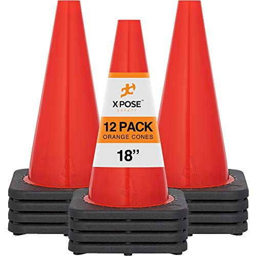 18 Inch Orange Traffic Cones, 12-Pack - Multipurpose PVC Plastic Safety Cone For Parking, Soccer, Caution, Kids and Construction - By Xpose Safety