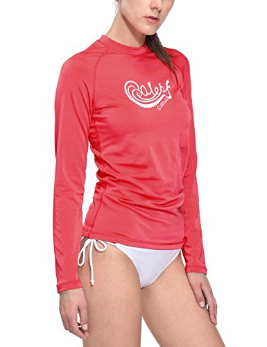 Womens Wicking Crewneck Tee - Baleaf Women's Long Sleeve Rashguard Swim Shirt Surf Top Sun Protection UPF 50+ Dubarry Size L