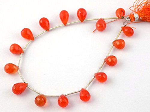 1 Strand Natural Carnelian Faceted Drops Briolette Beads 7x10-8x12mm Gemstone Beads,8