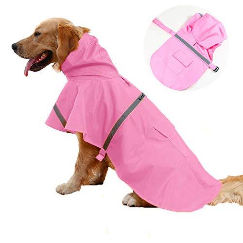 JWPC Dog Raincoat Reflective Waterproof Lightweight Adjustable Dog Rain Jacket with Hood for Small Medium Large Dogs,Pink L