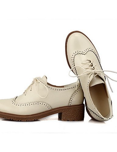 GGX/ Damen-High Heels-Lässig-Kunststoff-Blockabsatz-Stile / Rundeschuh / Geschlossene Zehe-Rot / Beige beige-us7.5 / eu38 / uk5.5 / cn38
