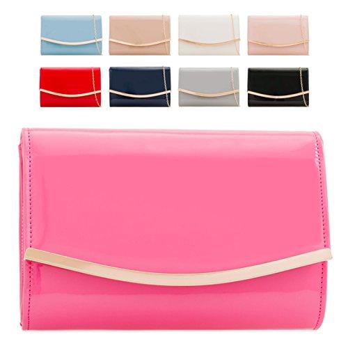 Evening Bag party Envelope Patent Women's Leather Clutch Navy Faux KH2216 Purse Ladies Handbag wXFxOq0A