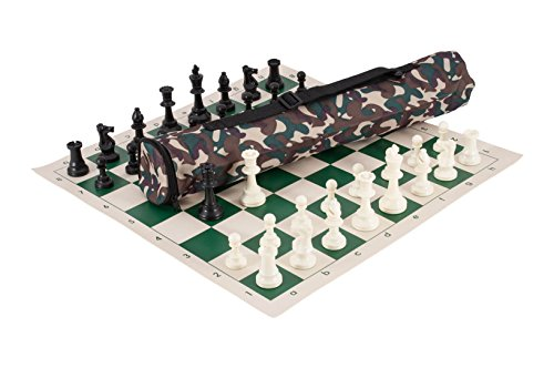Board Bag Olive - The House of Staunton Quiver Chess Set Combination - Triple Weighted - Desert Camo Bag/Green Board
