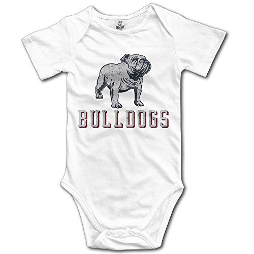 (Baby 100% Cotton Short Sleeve Onesies Toddler Bodysuit Cruel Bulldog Babysuits White Size 6 M)