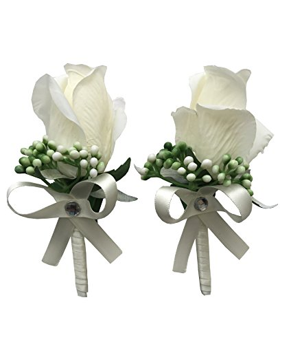 YuRong Vintage Boutonnieres Bridesmaid Corsage Flower Wedding Boutonnieres T01 (Ivory)