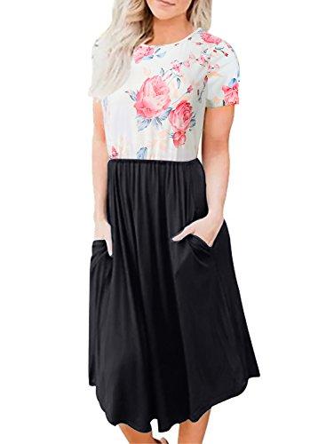 Seanrui Womens Summer Short Sleeve Floral Print Elastic Waist Casual Swing Midi Dress Pockets