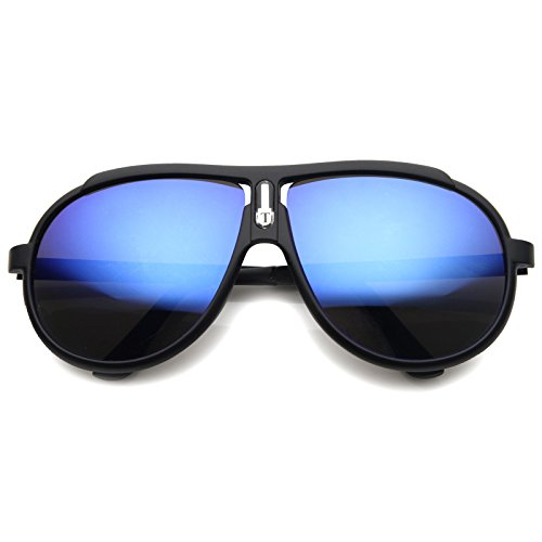 [zeroUV - Designer Inspired 80s Style Retro Sport Aviator Sunglasses (Black / Ice)] (80s Style Men)