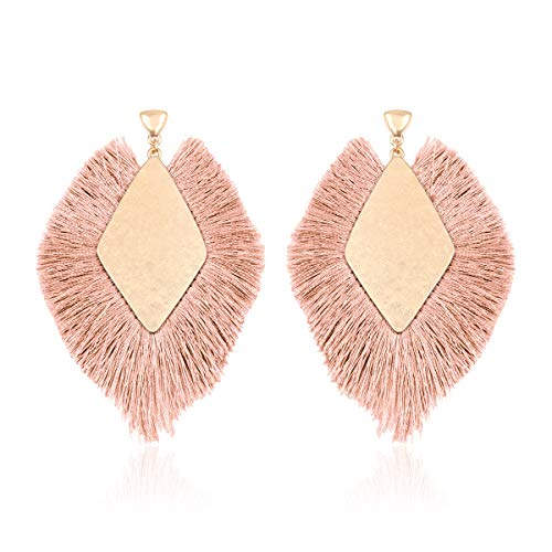 Bohemian Silky Thread Tassel Statement Drop Earrings - Strand Fringe Lightweight Feather Shape Dangles/Diamond Fan/Triangle Duster/Leatherette Teardrop (Diamond Fringe Drops - Dusty Pink)