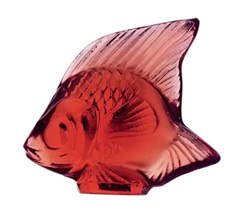 Lalique Fish Figurine, Golden Red/Gold - Crystal Fish Figurine