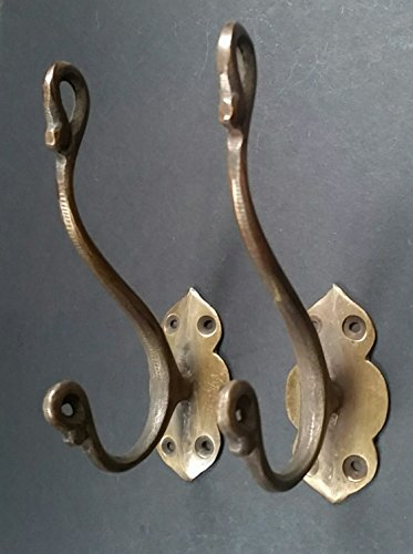 2 Lg Solid Brass Vintage Antique Style Ornate Double Coat Hat Hooks 5 1/2