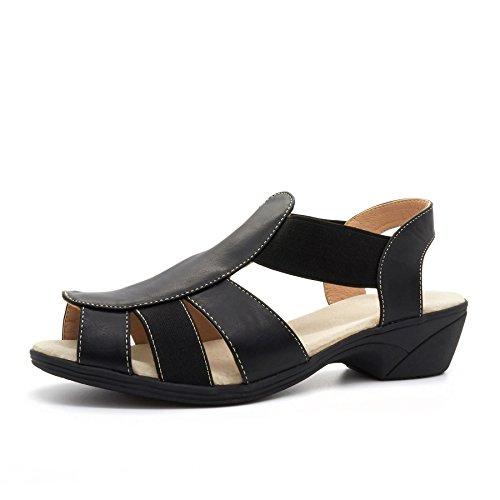 London Footwear - Zapatos con correa de tobillo mujer negro