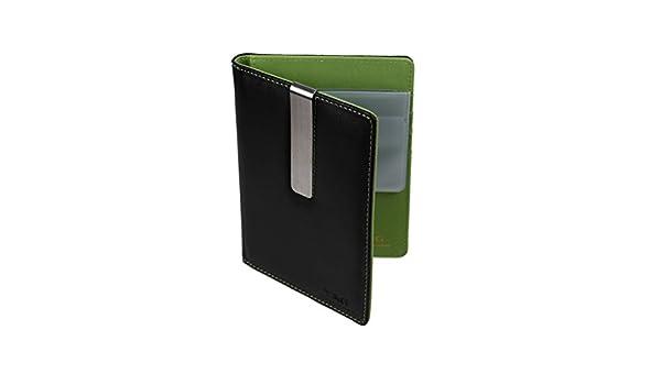 PW1016 verde llanura de cuero Cubierta del pasaporte de acero inoxidable dinero Clip con 10 tarjetas de cršŠdito de plš¢stico caso de la manera para los ...