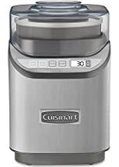 The Cuisinart Electronic Ice Cream Maker makes 2 qts of ice cream in just 20 minutes! The machine includes a lid with ingredient spout and integrated measuring cup, a 2 qt freezer bowl and an improved paddle for faster processing time. The ho...
