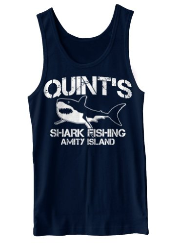 [Quint's Shark Fishing Funny Retro Cult Horror Tank Top] (Best Cult Halloween Movies)